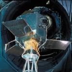 Le satellite astrométrique européen HIPPARCOS aux essais avant son lancement, 1989.