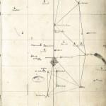 Dessin autographe de La Caille montrant la triangulation de la Tour de Montlhéry à Clermont de l'Oise. Remarquer la base mesurée avec des règles, de Villejuif à Juvisy.