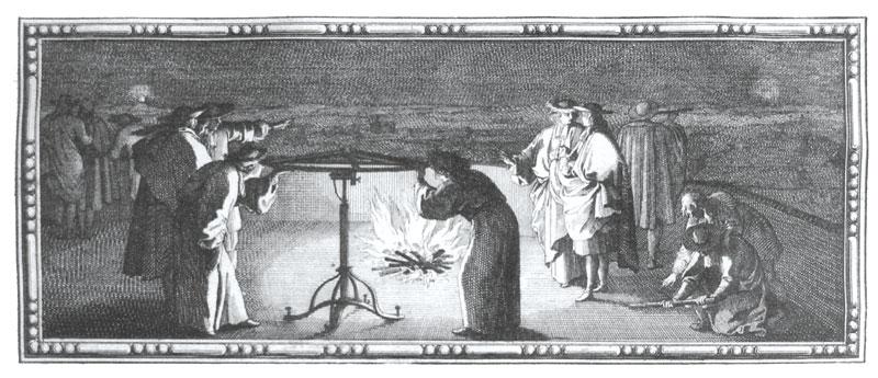 Une visée géodésique de nuit, gravure de Sébastien Leclerc tirée de la Mesure de la Terre de Jean Picard, 1671.