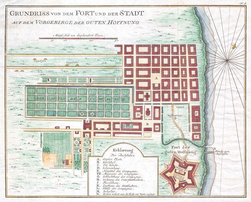 Plan de la colonie du Cap. L'Observatoire de La Caille se trouvait en bord de mer à droite. Noter le jardin de la compagnie, qui fournissait les navires en produits frais. D'après Jacques-Nicolas Bellin, Le Petit Atlas Maritime (1764).