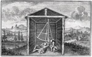 Le secteur zénithal. Pour déterminer une latitude lors de la vérification du méridien de Paris, La Caille observe à la lunette et Cassini de Thury lit les graduations. D'après Cassini de Thury, La méridienne vérifiée… (1744).