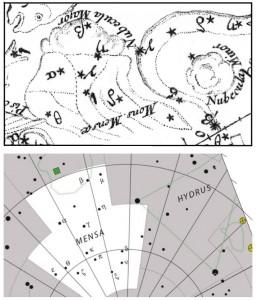 La constellation Mons Mensa (aujourd'hui Mensa) d'après le Coelum Australe Stelliferum de La Caille (en haut) et une carte moderne de l'Union Astronomique Internationale (en bas). Le Grand Nuage de Magellan surmonte cette constellation, rappelant la nappe nuageuse qui recouvre souvent la Montagne de la Table surplombant la ville du Cap. Les contours délimitent les deux Nuages de Magellan dans la version de l'UAI. La position des étoiles et des Nuages de Magellan est fort approximative dans la gravure.